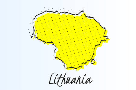 Map of Lithuania, halftone abstract background. The black dots on a yellow background. drawn border line. vector illustration Ilustração