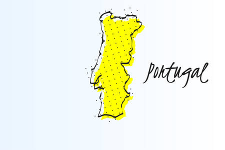 Map of Portugal, halftone abstract background. The black dots on a yellow background. drawn border line. vector illustration