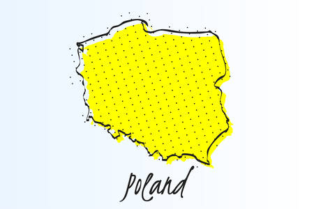Map of Poland, halftone abstract background. The black dots on a yellow background. drawn border line. vector illustration