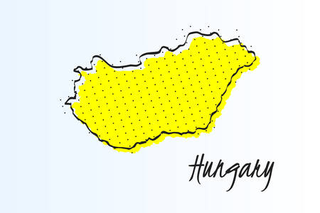 Map of Hungary, halftone abstract background. The black dots on a yellow background. drawn border line. vector illustration Иллюстрация