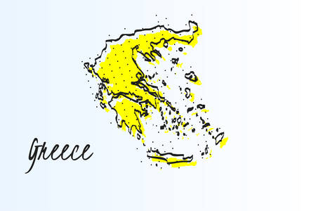 Map of Greece, halftone abstract background. The black dots on a yellow background. drawn border line. vector illustration