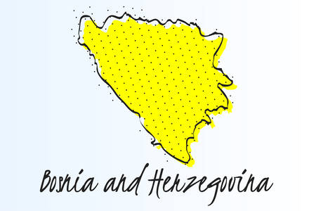 Map of Bosnia and Herzegovina, halftone abstract background. The black dots on a yellow background. drawn border line. vector illustration Иллюстрация