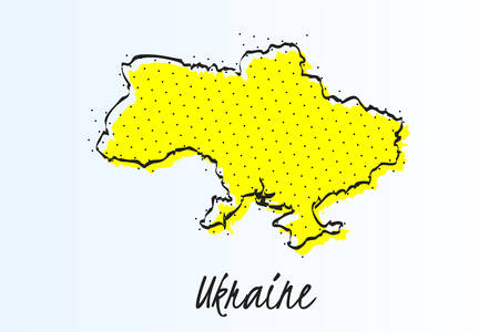 Map of Ukraine, halftone abstract background. The black dots on a yellow background. drawn border line. vector illustration