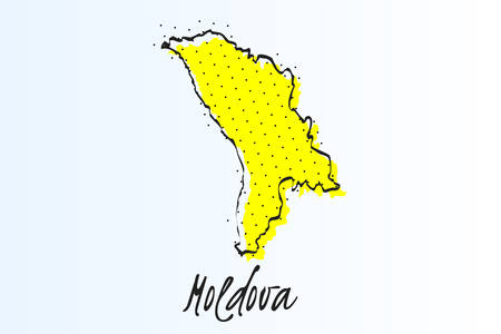 Map of Moldova, halftone abstract background. The black dots on a yellow background. drawn border line. vector illustration