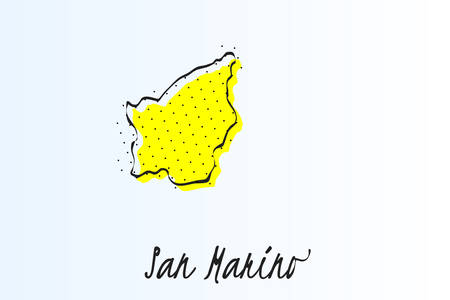 Map of San Marino, halftone abstract background. The black dots on a yellow background. drawn border line. vector illustration