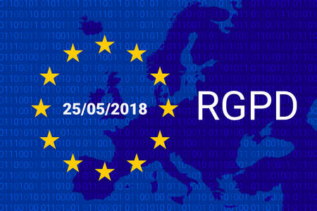 RGPD is GDPR: general data protection relation in French, Italian, Spanish. Vector illustration. Europe map Иллюстрация