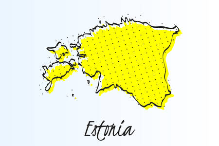 Map of Estonia, halftone abstract background. The black dots on a yellow background. drawn border line. vector illustration Иллюстрация