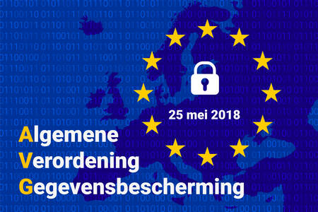 AVG dutch text, english translation - GDPR - General Data Protection Regulation. Vector illustration Imagens - 100994885