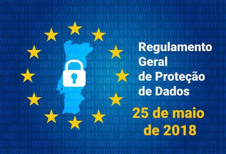 RGPD Portuguese text, english translation - GDPR - General Data Protection Regulation. Vector illustration