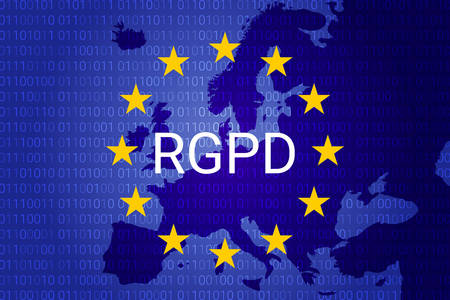 RGPD is GDPR: general data protection relation in French, Italian, Spanish. Vector illustration. Europe map Stock Illustratie