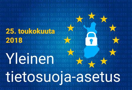 Finnish text, english translation - GDPR - General Data Protection Regulation. Vector illustration Stockfoto - 100994892