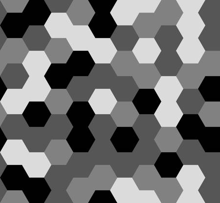 hexagon seamless pattern. geometric background. abstract modern tile. vector illustration. design for the background display, flyers, brochures fabric, clothes, texture, textile pattern. black color Иллюстрация