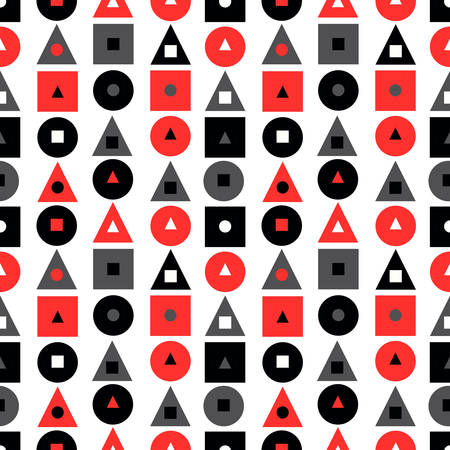Seamless pattern with geometric symbols: triangle, circle, square. Abstract background in black, red colors. Vector illustration. background for website, brochures and presentations in a modern style