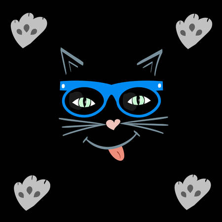 cat face that smiles. pet in hipster glasses. kitty showing tongue. paws cat deputed to the screen. vector illustration. background for t-shirts