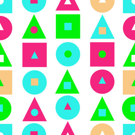 Seamless pattern with geometric symbols: triangle, circle, square. Abstract background in bright colors. Vector illustration. background for website, brochures and presentations in a modern style Иллюстрация