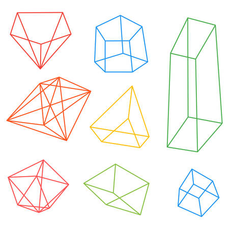 frame geometric shapes. set of pyramids, cubes minerals. vector illustration. blue background, transparent facets figures and color frame Иллюстрация