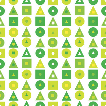 Seamless pattern with geometric symbols: triangle, circle, square. Abstract background in green colors. Vector illustration. background for website, brochures and presentations in a modern style Иллюстрация