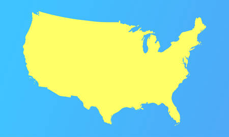 vector map of usa in a modern style. yellow country on a light blue background. vector illustration