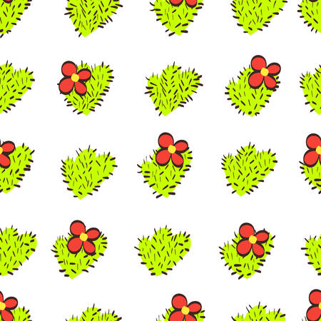 green cactus with thorns and flowers on a white background. seamless pattern. botanical vector illustration. background for clothing and textiles Иллюстрация