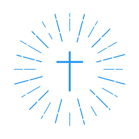 cross logo. christian symbol in white on a white background with rays of light. church logotype. vector illustration. background for the religious organization, brochures, leaflets, book