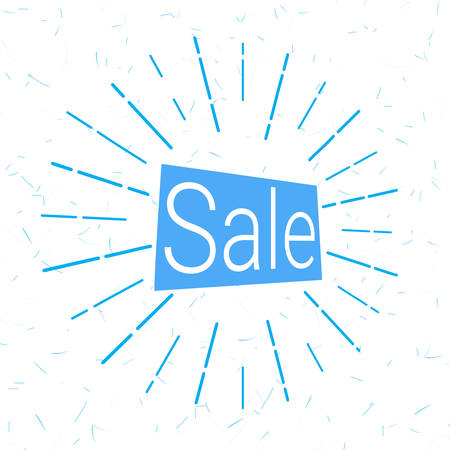 Sale logo in blue that attracts attention. vector illustration. background for promotions, discounts, promotions, tags. Colored rays of light going in different directions like a fireworks explosion