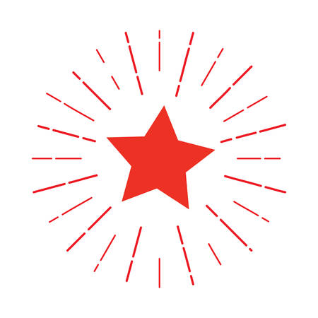 Red Star logo that attracts attention. vector illustration. background for promotions, discounts, promotions, tags. Colored rays of light going in different directions like a fireworks explosion Иллюстрация