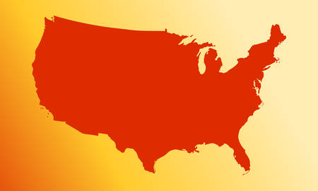 vector map of usa in a modern style. red country on a yellw background. vector illustration