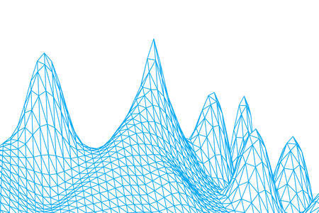 Wireframe mountains terrain. blue color grid in perspective on white background. abstract background for design technology, programming Иллюстрация