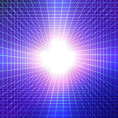 De tunnel met licht aan het eind. futuristische achtergrond met heldere kleurovergangen. vector illustratie