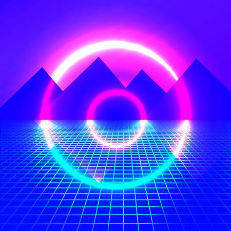 Bergen op een achtergrond van neonlichten. helder licht futuristische achtergrond. cirkel gloeiend. vector illustratie Vector Illustratie