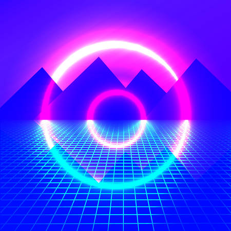 Mountains on a background of neon lights. bright light futuristic background. circle glowing. vector illustration