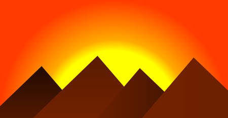 Beautiful sunset, orange sky in a mountainous area. Vector illustration. Flat mountains. Nature and travel