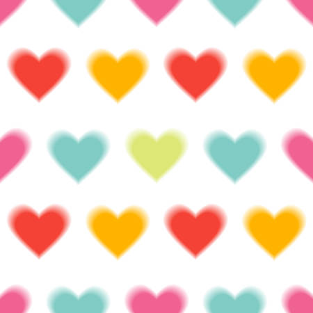Love Abstract Background with colored Hearts. Defocused Seamless pattern. Vector Illustration