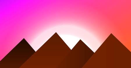 Beautiful sunset with vanilla sky in a mountainous area. Vector illustration. Flat mountains. Nature and travel Illustration