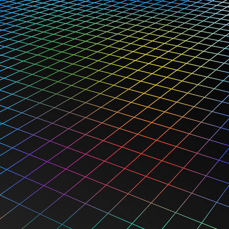 black grid squares in perspective. abstract background for design technology, programming, information Technology, media, game. Vector illustration Иллюстрация