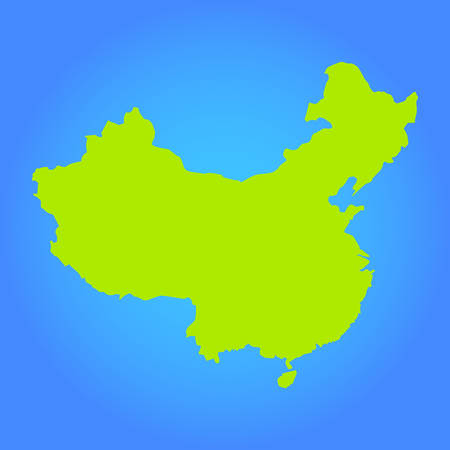 vector map of the Peoples Republic of China in flat style on a blue, background. Green map for infographics, brochures and presentations