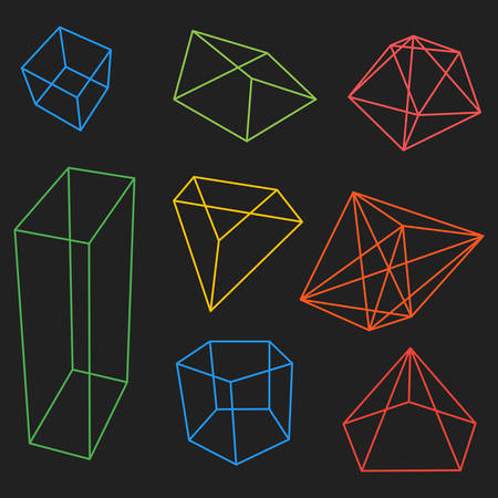 frame geometric shapes. set of pyramids, cubes minerals. vector illustration. blue background, transparent facets figures and color frame Vectores