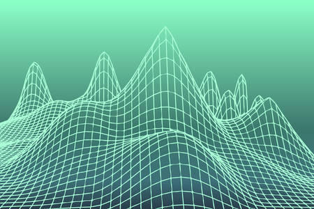 green color grid squares in perspective. abstract background for design technology, programming, information related to IT -Information Technology , media, game. mountains terrain