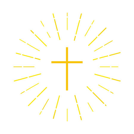 Cross icon. Christian symbol in yellow on a blue background with rays of light. Vector illustration for the religious organization, brochures, leaflets, book. Ilustração