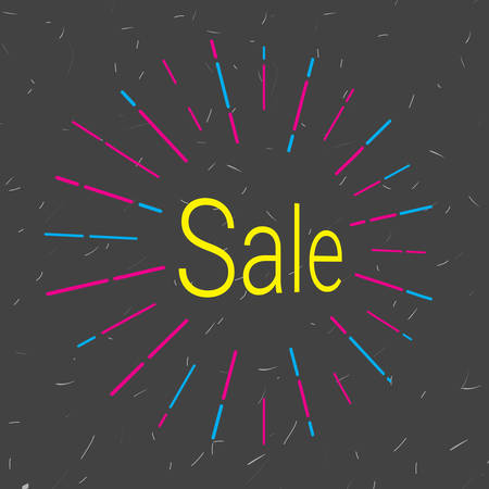 Sale icon that attracts attention. Vector illustration. Black background for promotions, discounts, promotions, tags. Colored rays of light going in different directions like a fireworks explosion.