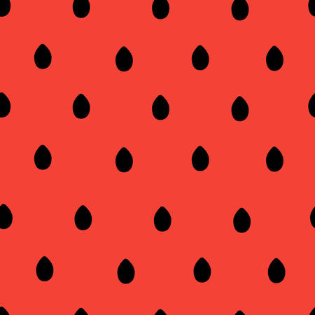 seamless colorful watermelon seeds pattern on red background. vector illustration for the background display, website, flyers, brochures and childrens fashion in a modern style