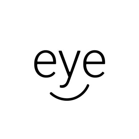 Eye logo words in a simple linear style that resembles the face of a happy man. A smile on a white background. Vector symbol for medical company or small business Stockfoto - 100956577