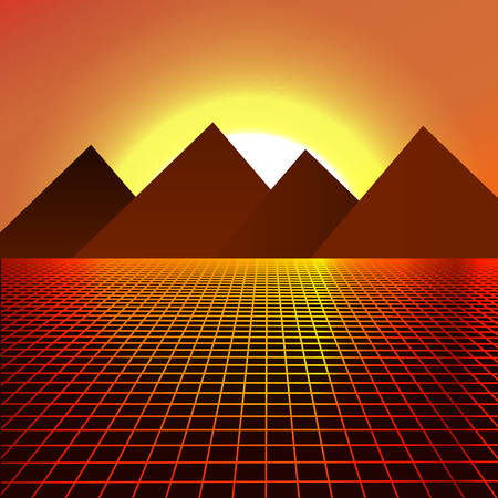 Mount Desert that look like pyramids on the background of sunset. Beautiful sunrise. Vector illustration