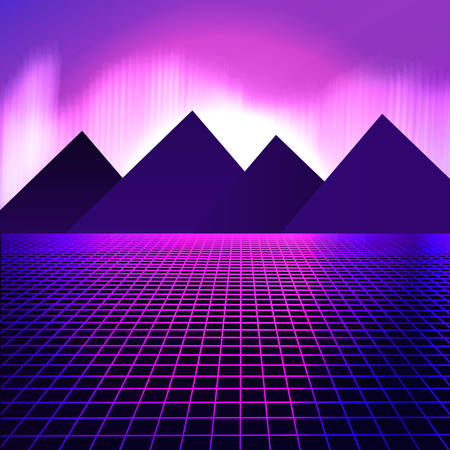 Mountains on a background of pink neon lights. Vector illustration in retro style of 80 for poster of disco party, flyer, ticket. beautiful sunset. grid cyberspace