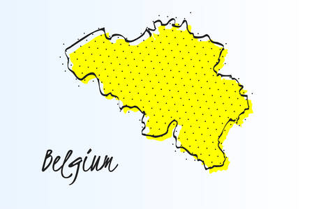 Map of Belgium, halftone abstract background. The black dots on a yellow background. drawn border line. vector illustration Ilustrace