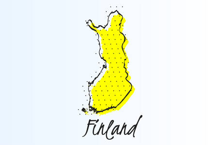 Map of Finland, halftone abstract background. The black dots on a yellow background. drawn border line. vector illustration Ilustrace