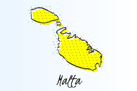Map of Malta, halftone abstract background. The black dots on a yellow background. drawn border line. vector illustration Ilustrace