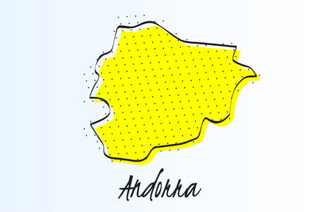 Map of Andorra, halftone abstract background. The black dots on a yellow background. drawn border line. vector illustration
