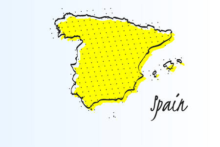 Map of Spain, halftone abstract background. The black dots on a yellow background. drawn border line. vector illustration