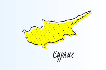 Map of Cyprus, halftone abstract background. The black dots on a yellow background. drawn border line. vector illustration Фото со стока - 101044570